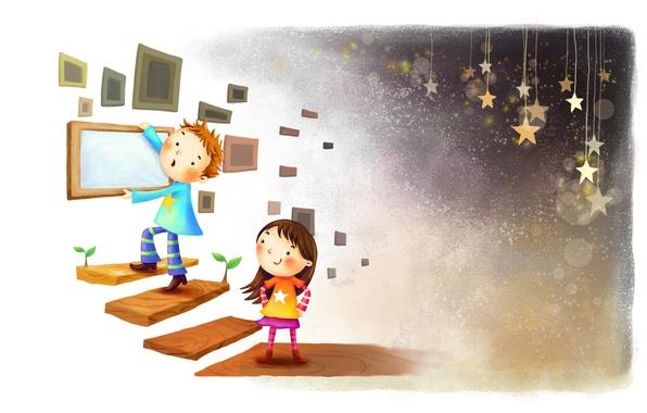 Картинка ростки, улыбка, рисунок, звёзды, мальчик, рамка, лестница, девочка