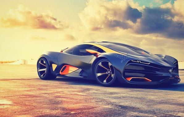 Картинка Concept, Солнце, Небо, Концепт, Sky, Автомобиль, Lada, Sun, Суперкар, Лада, Supercar, Raven, Равен, 2014. Car