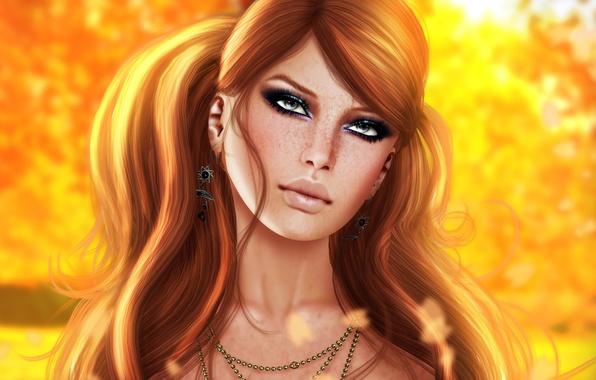 Картинка взгляд, девушка, лицо, рендеринг, фон, волосы, губы, веснушки