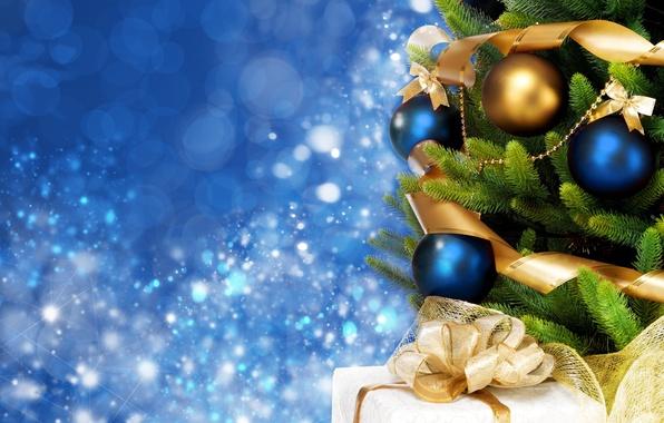 Картинка фон, праздник, голубой, widescreen, шары, обои, елка, новый год, ель, подарки, wallpaper, new year, бантик, …