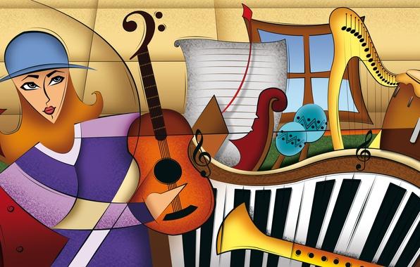 Картинка music, color, figures, composition, instruments