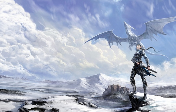 Картинка зима, девушка, облака, снег, замок, скалы, ветер, дракон, фэнтези, арт, эльфийка, anndr