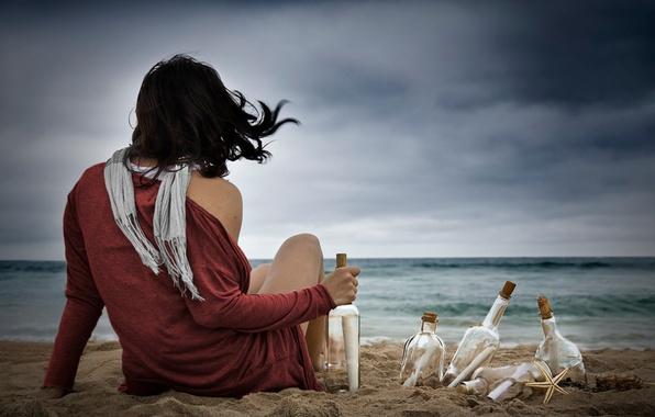 Картинка море, пляж, небо, пейзаж, природа, Девушки
