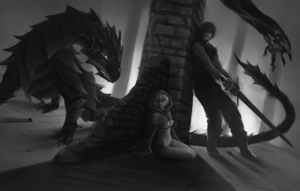 Картинка девушка, страх, дракон, эльф, меч, арт, черно-белое, парень