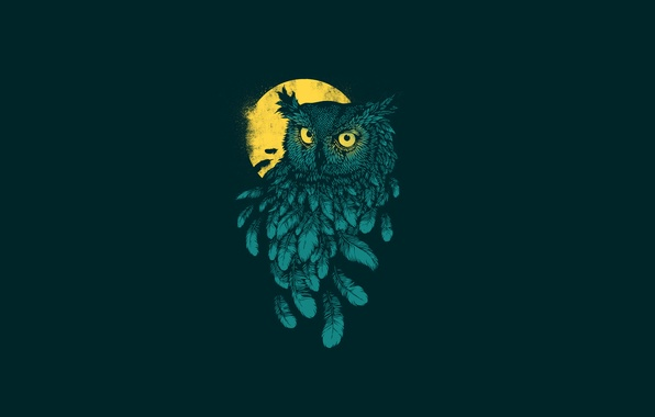 Картинка темный фон, сова, птица, минимализм, перья, moon, owl, желтая луна