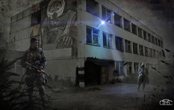 Картинка город, солдат, Stalker, сталкер, военный, припять, зона