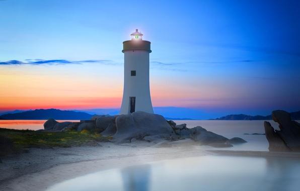 Картинка море, закат, маяк, sky, sea, landscape, sunset, water, clouds, rocks, italy, lighthouse, ligh, sardinia, marcocarmassi