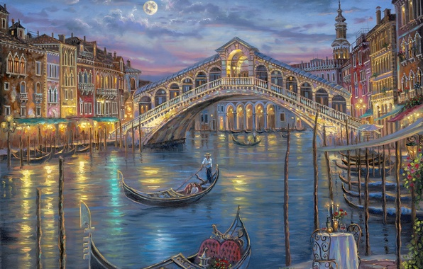 Картинка цветы, ночь, мост, луна, романтика, свечи, Италия, Венеция, канал, живопись, Robert Finale, столик, гандола, Гранд-канал, …