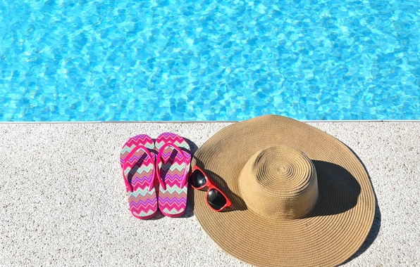 Фото обои шляпа, очки, accessories, vacation, отдых, beach, пляж, каникулы, summer, лето, сланцы, бассейн