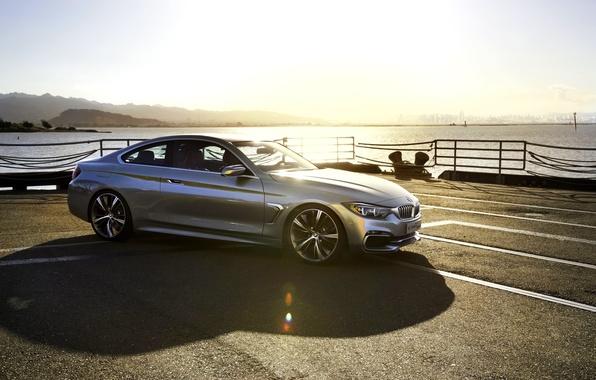 Картинка Concept, Авто, Причал, BMW, Машина, Свет, Серебро, Тень, Блик, Coupe, 4 Series