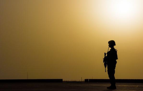 Картинка оружие, армия, силуэт, солдат