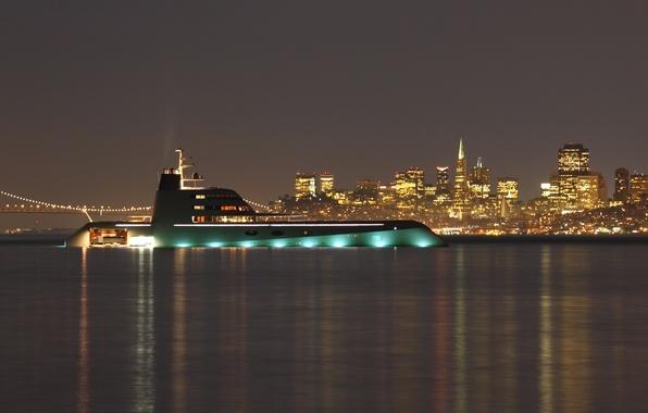 Картинка ночь, city, город, огни, дома, вечер, яхта, night, высотки, yacht, yachts, мега, мост., super yacht, …