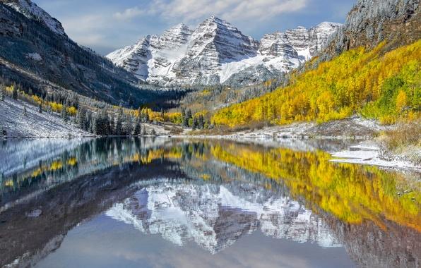 Картинка осень, вода, отражения, горы, озеро, Колорадо, США, пики, штат, Maroon Bells, Elk Mountains