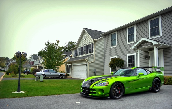 Фото обои Dodge, green, ACR, SRT-10, Snakeskin Edition, Viper