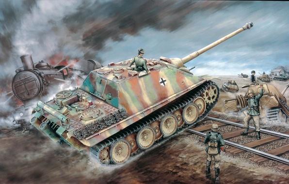 Картинка рисунок, вторая мировая, немцы, сау, вермахт, Jagdpanther, Sd.Kfz. 173, ягдпантера, самоходно-артиллерийская установка, истребитель танков