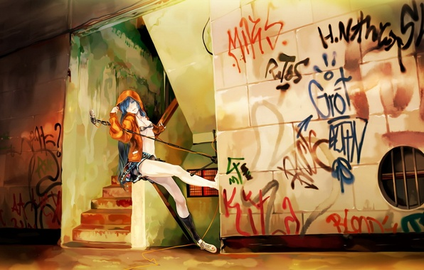Картинка музыка, стена, граффити, аниме, микрофон, вокалоид, мику