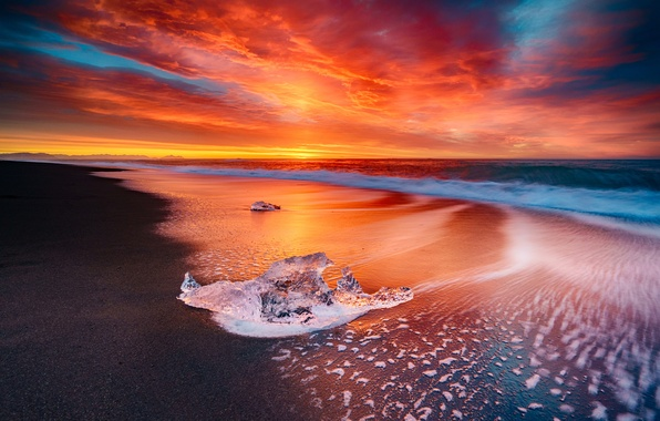 Картинка Sky, Fire, Beach, Sun, Water, Sunset, Iceland, Ice, Sea