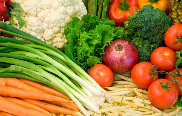 Картинка еда, лук, перец, овощи, помидоры, морковь, брокколи
