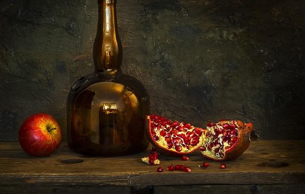 Картинка стиль, фото, бутылка, яблоко, натюрморт, гранат, бутыль, псевдоживопись, Mostapha Merab Samii