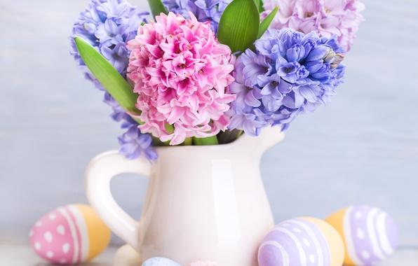 Картинка цветы, праздник, доски, яйца, Пасха, кувшин, Easter, крашенки, гиацинты