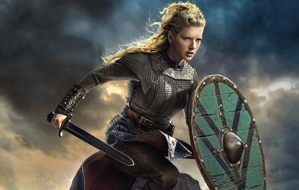 Картинка небо, меч, сериал, щит, драма, Vikings, историческая, Викинги, Katheryn Winnick, Lagertha