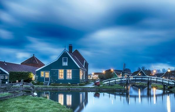 Картинка ночь, фонари, Нидерланды, Голландия, музей под открытым небом, Zaanse Schans, Занстад, Zaandam, Zaanstad