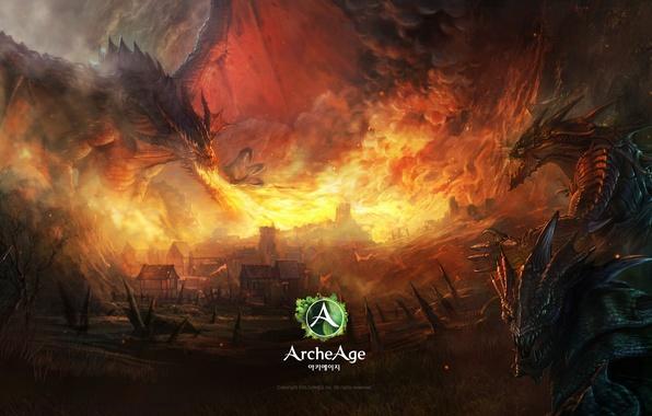 Картинка пожар, пламя, дракон, игра, дома, арт, монстры, fire, game, online, art, dragon, mmorpg, онлайн, мморпг, …