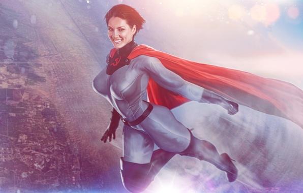Картинка девушка, улыбка, фантастика, герой, костюм, плащ, супергерой, art, superwoman, Soviet-Superwoman, soviet