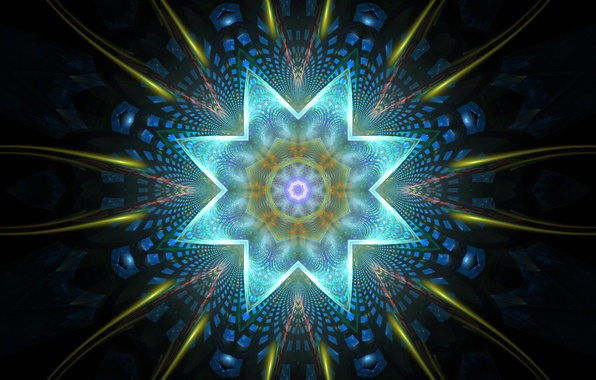 Картинка цветок, лучи, свет, линии, узор, звезда, углы, лепестки, фигура, симметрия