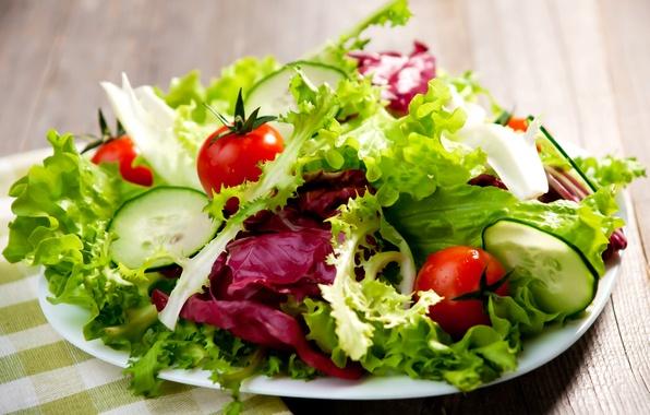Картинка зелень, green, овощи, помидоры, капуста, огурцы, tomatoes, vegetables, cabbage, зеленый салат, green salad, cucumbers