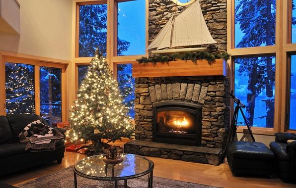 Картинка снег, деревья, комната, мебель, окна, кожа, труба, парус, ёлка, камин, плед, столик, Гостиная, стекляный, ветка ...