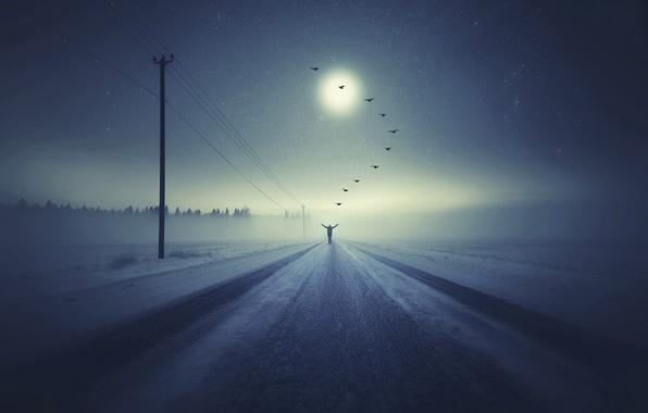 Картинка фантазия, Going to heaven, человек.птицы, зимняя дорога
