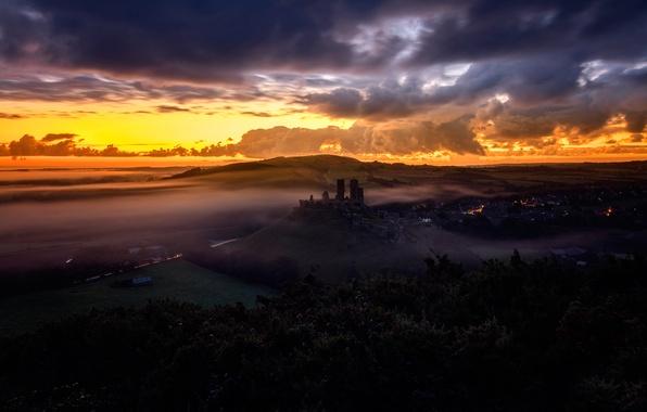 Картинка осень, закат, Corfe Castle, Dorset, The Narratographer