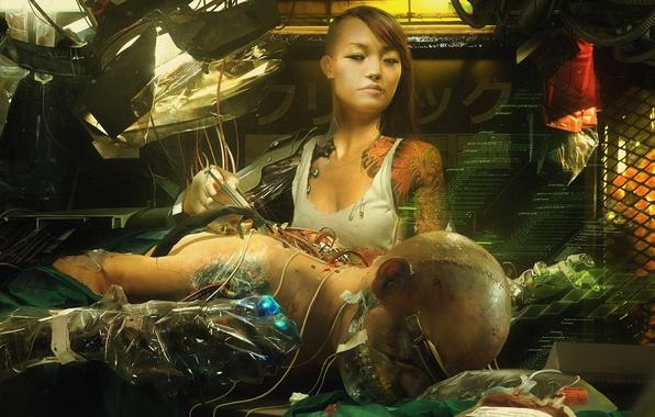 Картинка девушка, фантастика, интерфейс, рисунок, арт, girl, азиатка, киборг, киберпанк, art, sci-fi, cyberpunk, техник, asian, cyborg, …