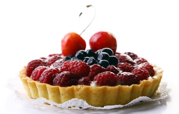 Картинка вишня, ягоды, малина, еда, черника, пирог, cake, крем, десерт, food, 1920x1200, сладкое, sweet, cherry, blueberry, …