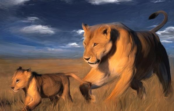 Картинка Природа, Рисунок, Животные, Краски, Арт, Живопись, Painter, Львы