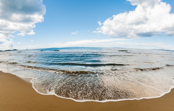Картинка песок, море, волны, пляж, берег, summer, beach, sea, ocean, sand