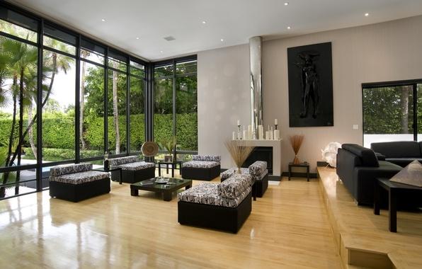Картинка зелень, дизайн, фото, комната, обои, окна, интерьер, свечи, простор, камин, диваны