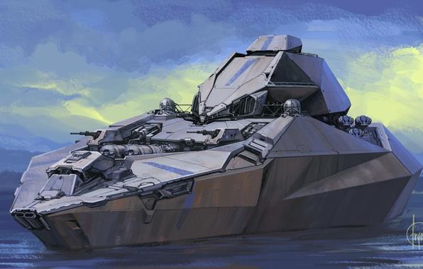 Картинка дизайн, фон, боевой, футуристический корабль