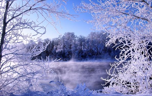 Картинка зима, иней, река, мороз