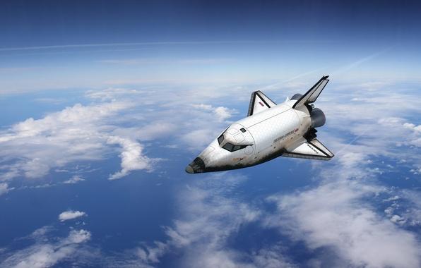 Картинка космос, облака, полёт, самолёт, буран