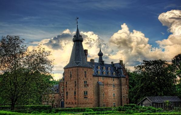 Фото обои HDR, Нидерланды, Kasteel Doorwerth, деревья, небо, облака, замок