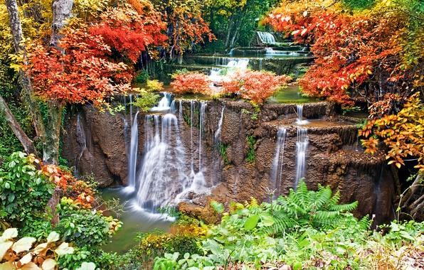 Осень водопад камни вода обои фото