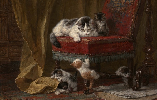 Картинка кошка, краски, картина, кресло, котята, малыши, играют, kitten, cat, art, chair, painting, five