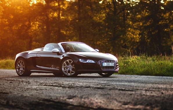 Картинка Audi, black, Spyder, front, sun, V10