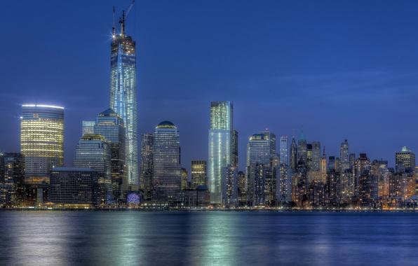 Картинка здания, Нью-Йорк, ночной город, Манхэттен, Manhattan, NYC, New York City, One World Trade Center, Башня …