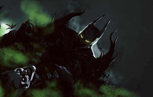 Картинка batman, герой, злодей, joker, DC Comics, bruce wayne