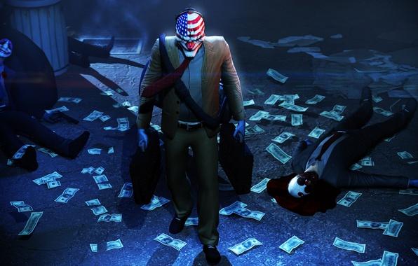 Картинка деньги, маска, ограбление, Payday 2, Overkill Software