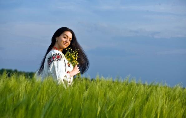 Картинка поле, лето, девушка, цветы, настроение, красота