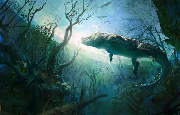 Картинка деревья, пруд, крокодил, арт, подводный мир, аллигатор